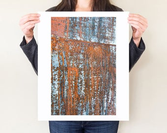 Rust photography, industrial artwork, blue and orange abstract photo, industrial home decor, rust wall art, large format print, 16x20, 20x30