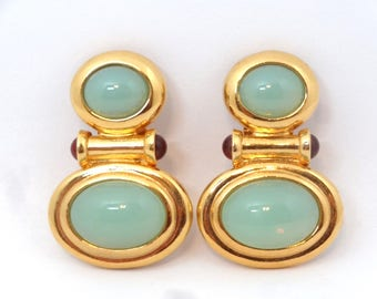 Elizabeth Taylor for Avon Faux Jade 1995 Taylored Style Collection - Earrings – Faux Jade Earrings - Vintage Jewelry - Designer Jewelry
