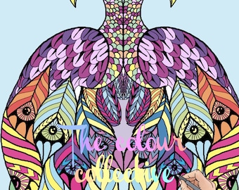Animal mandala pattern adult colouring printable download pages 3 pack