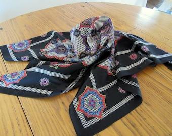 Vintage Black Paris Silk Scarf, Beautiful Medallion Pattern, Pink, Red, Aqua, Purple, Gold, Vintage Silk Scarf, Retro Fashion Accessories