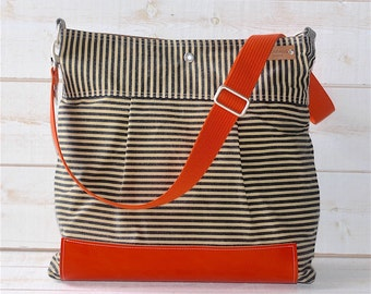 BEST SELLER Diaper bag,Messenger bag WAXED Stockholm Black ecru geometric nautical striped  Leather, Featured on The Martha Stewart