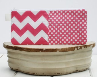 Charger Cord Cubbies|Zipper Bag for Chargers|Phone Cord Tablet Cord  Bag|Travel Bag Chargers Cubbie|Zipper Pouch in Pink Chevron Polka Dots