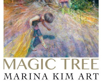 "Poster of an original painting by Marina Kim ""Magic Tree"" Children in the woods, kids exploring, childhood, fantasy, magic, mystery"
