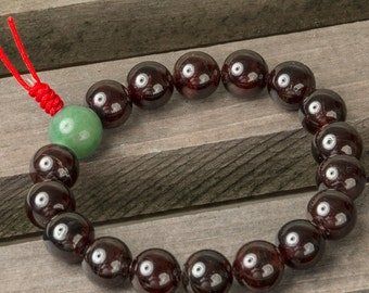 Garnet Mala Bracelet, 10 mm Mala Bead Bracelet with Jade Guru Bead, Healing Bracelet, Wrist Mala, Yoga Bracelet, Spiritual Bracelet