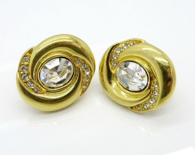 Napier Earrings, Vintage Rhinestone Earrings, Oval Clip on Earrings, Bridal Jewelry, Perfect Gift for Her