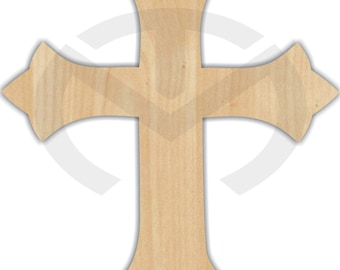 Unfinished Wood Cross with Points Laser Cutout, Wreath Accent, Door Hanger, Ready to Paint & Personalize, Various Sizes