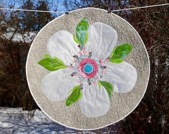 MarveLes Jumbo Apple Blossom Floral Round Quilted Table Topper Home Decor in white satin on Beige Linen fabric