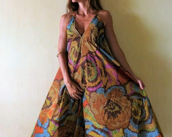 Ethnic long dress, voile cotton multicolored flowers, backless