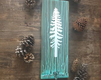 Hooked on Sitka in Turquoise - Reclaimed wood gift rustic tree wall art antique coat hook