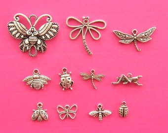 The Insect Collection - 11 different antique silver tone charms