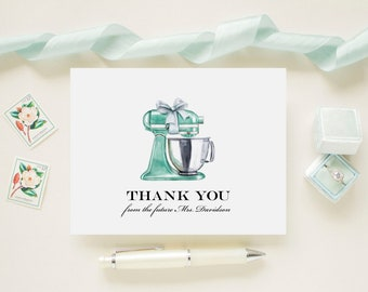 Aqua Stand Mixer Bridal Shower Personalized Wedding Thank You Cards, Bridal Shower, Wedding, Newlywed Future Mrs. Note Cards