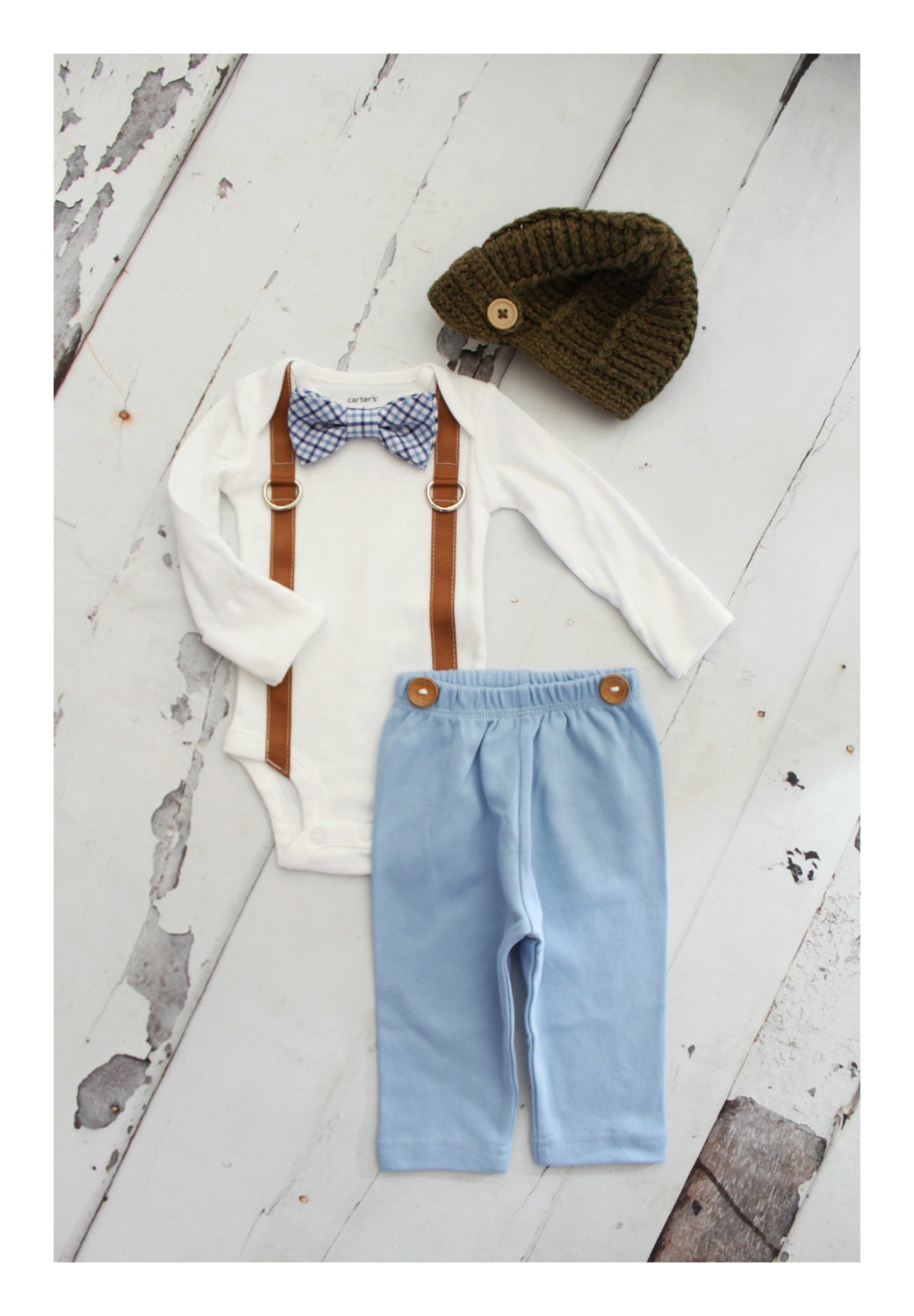 Newborn Baby Boy Coming Home Tie Outfit Set up to 4 Items. Bow