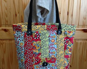 Tote, Country Curls Quilted Tote, Shoulder Bag, Handbag, Market Bag