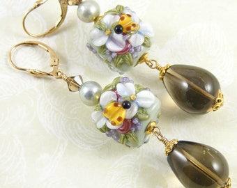 Secret Garden Earrings, Smoky Quartz, Freshwater Pearls & Artisan Lampwork Glass, OOAK (One of a Kind) Soft Sage Green Floral Jewellery