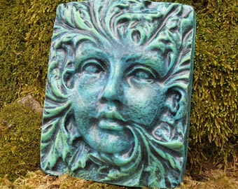 Garden Goddess, Water Nymph, Goddess Wall Decor, Mermaid Plaque, Greenwoman Statue, Earth Goddess Plaque,