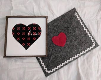 QUICK SHIP!  Farmhouse inspired buffalo plaid heart with 'love' framed wood sign