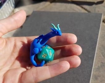 Polymer clay dragon statue - Gemini d20