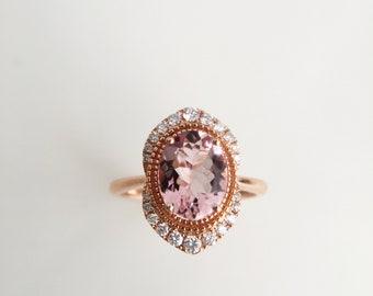 2.2 Carat Morganite Engagement Ring Pink Stone Engagement Ring Pink Stone Ring Morganite Ring Rose Gold Ring Diamond Ring