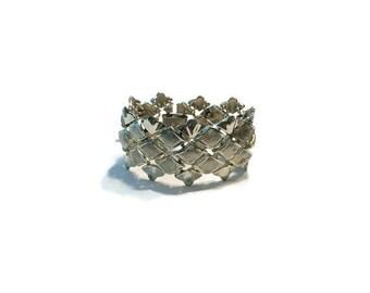 Signed Coro Pegasus Bracelet, Silver Tone Woven Design Bracelet, Costume Jewelry