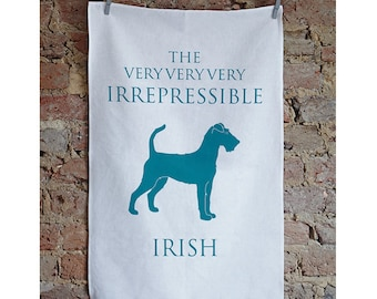 Irish Terrier Tea Towel - Irish Terrier Gift - Housewarming Gift - Thank you Gift - Kitchen Towel - Hostess Gift - Birthday Gift