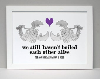 1st Anniversary Lobster Personalised Print First Anniversary Print Gift for Couple Gift for Girlfriend Gift for Boyfriend One Year Together