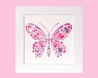 Pink butterfly painting, original watercolour, silver leaf detail, butterfly original artwork, butterfly gift for her, butterfly nursery art