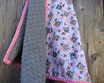 Modern baby blanket - Owl baby blanket - Baby girl blanket - Minky baby blanket
