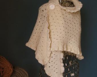 Ivory Wool Wedding Shawl with Ruffled Edge