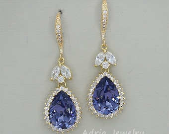 Purple Crystal Earrings, Gold Wedding Earrings ,Teardrop Earrings, Violet Bridesmaid Jewelry, Swarovski Tanzanite Rhinestone Earrings