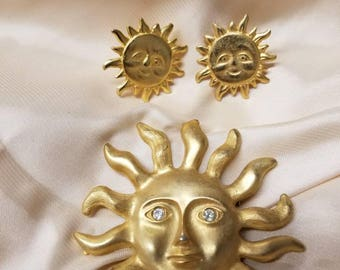 Sun Brooch and Earring Set