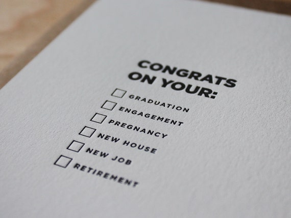 Congrats on your... Letterpress Flat DIY Congratulations Card / Greeting Card