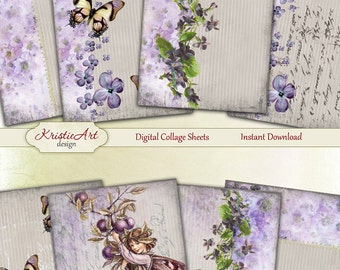 75% OFF SALE Lilac Morning - Digital Collage Sheet Digital Cards C103 Printable Download Image Tags Digital Atc Flowers Card ACEO