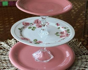 3 tier dessert stand floral repurpose platter cake cookies dessert pink floral