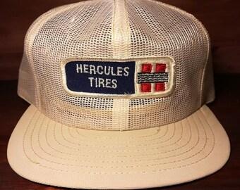 Vintage Hercules Tires white snapback trucker hat