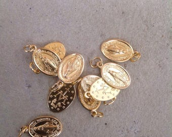 Vintage Lot Of 10 New/Old Religious Medal Stock French Gold-Tone Miraculous Virgin Mary Medals 2091