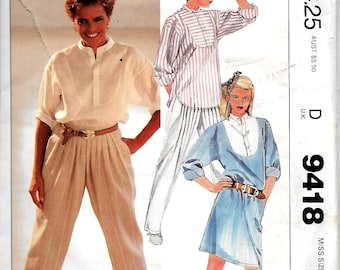 McCall's 9418    Misses Dress/Tunic, Top and Pants   Size Xsm     UNCUT