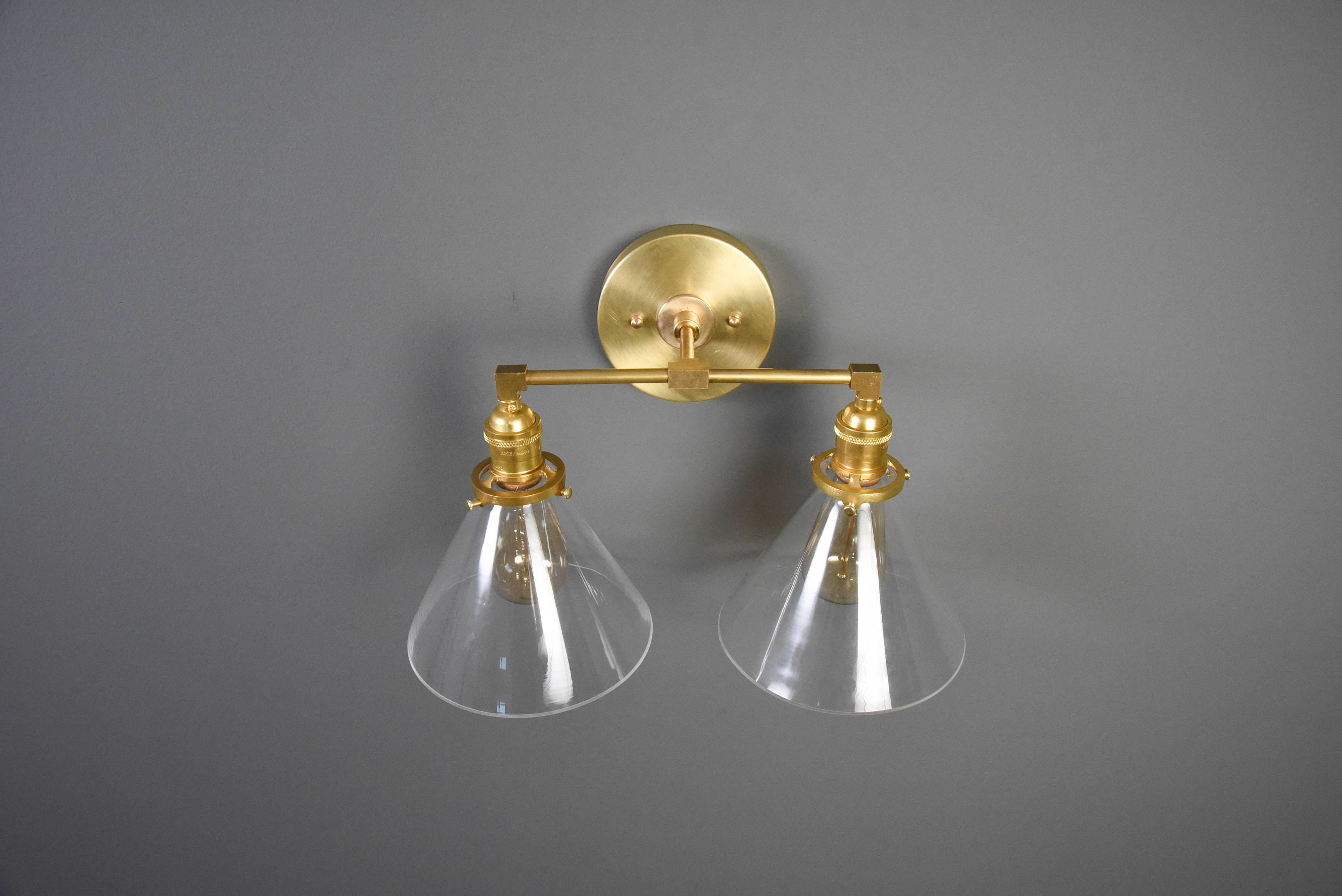 Modern Ridged Shade Bath Sconce 2 Light: Wall Sconce Vanity Gold Brass 2 Bulb With Clear Cone