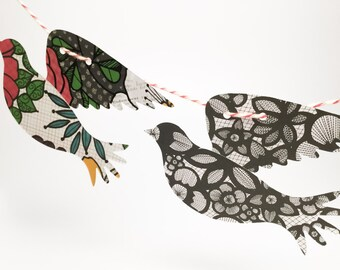 7 ft Bird garland- Doves - large birds - Dramatic colors - black birds - colorful birds - party Decoration - home decoration -paper garland