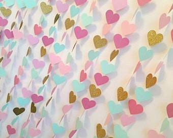 Paper garland | Heart garland | Mint and pink wedding decoration | photo backdrop | baby shower | birthday party | paper bunting | bunting |
