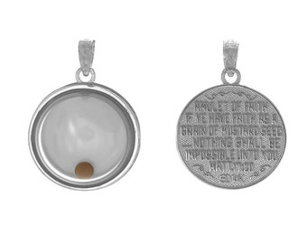 Million Charms 925 Sterling Silver Religious Charm Pendant, 3-D Mustard Seed Dome If Ye Have Faith, Movable