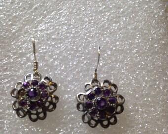Nemesis Vintage Handmade Sterling Silver deep blue Iolite earrings