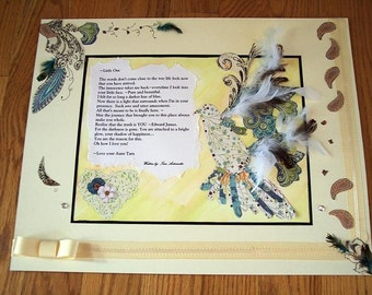 Quote, Song, Poem, Verse, Lyric, Word Art, with Original Watercolor Painting, Scrapbook Collage Art in Mat