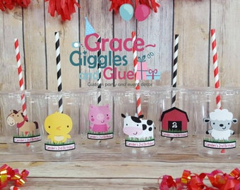 12 Personalized Farm Animal Themed Party Cups with Straws and Lids