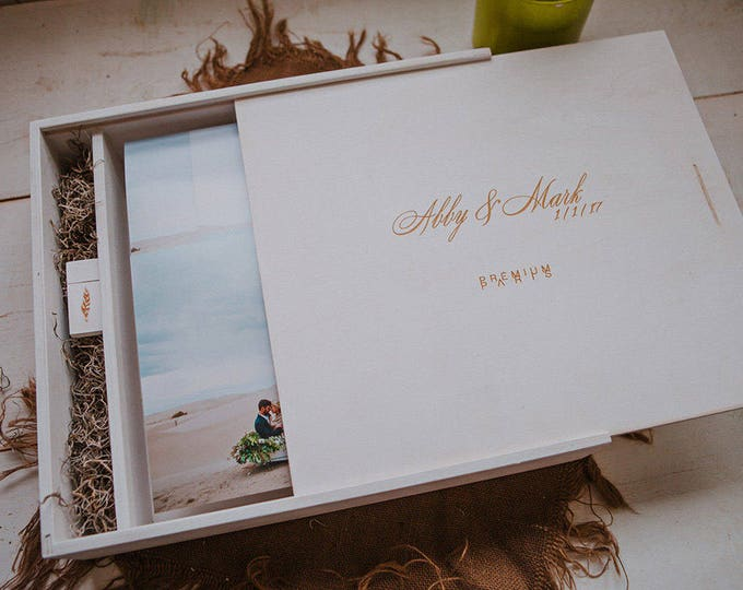 13x13x5 - Wood Album Box (with an extra area for a USB) - USB not included