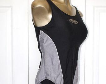 Vintage 1980s JANTZEN Bathing Suit . Black Silver Slim One Piece Swimsuit . Racing Back Swimming Suit Maillot . Size 6 - 8 USA