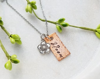 Bloom Necklace. Adversity Quote. Inspirational Jewelry. Hand-stamped Necklace. Hand-stamped Copper. Hammered Jewelry. Gift For Her.