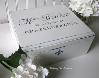 French Typography Keepsake Memento Box Storage Photos Pictures Holder