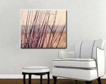 Minimalist beach art, large canvas wrap, beach grass canvas photography, tan purple plum nautical abstract, coastal wall art, canvas print