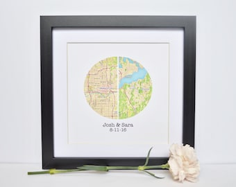 Personalized Map Print- Map Print Anniversary Present, Paper Anniversary for 1st anniversary gift, Custom Engagement Gift for Couple
