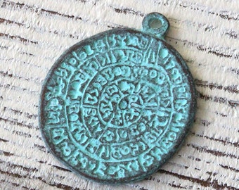 Mykonos Disk Of Phaistos Pendant - Green Patina Pendant - Beads For Jewelry Making Supply - Choose Amount